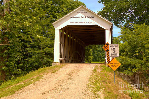 Photograph - Indiana Bowsher Ford Covered Bridge by Adam Jewell