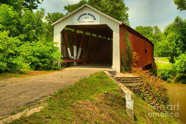 Photograph - Indiana Eugene Covered Bridge by Adam Jewell