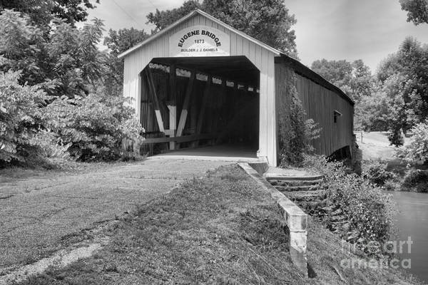 Photograph - Indiana Eugene Covered Bridge Black And White by Adam Jewell