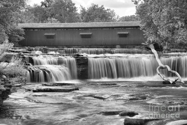 Photograph - Indiana Falls In Mill Creek Black And White by Adam Jewell