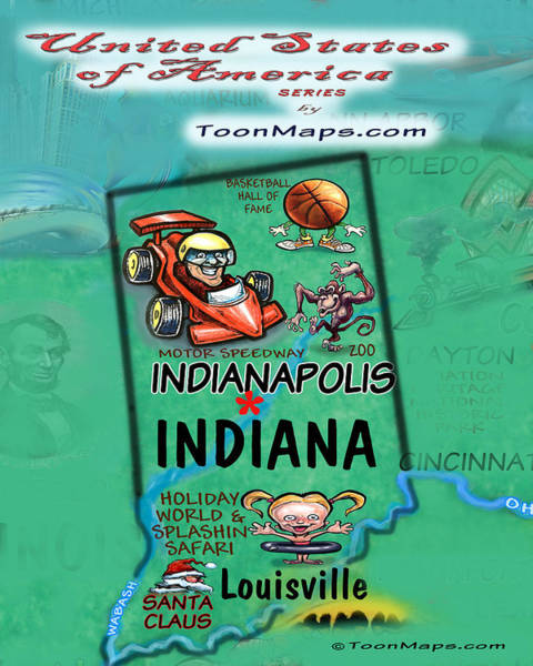 Digital Art - Indiana Fun Map by Kevin Middleton