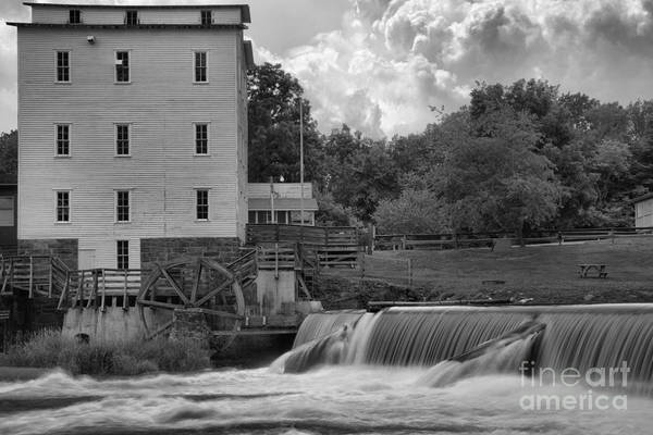 Photograph - Indiana Mansfield Mill Black And White by Adam Jewell