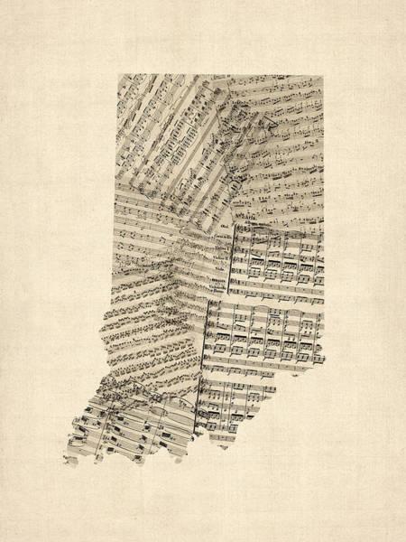 Wall Art - Digital Art - Indiana Map, Old Sheet Music Map by Michael Tompsett