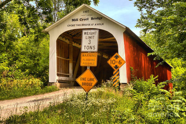 Photograph - Indiana Mill Creek Covered Bridge by Adam Jewell
