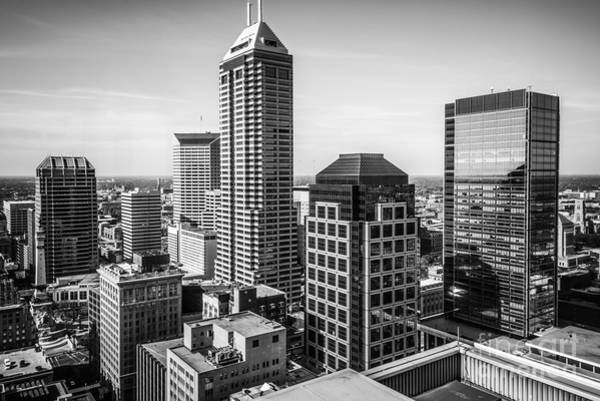 Wall Art - Photograph - Indianapolis Aerial Black And White Photo by Paul Velgos