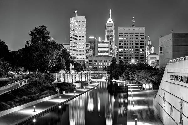 Photograph - Indianapolis Black And White Downtown Skyline by Gregory Ballos