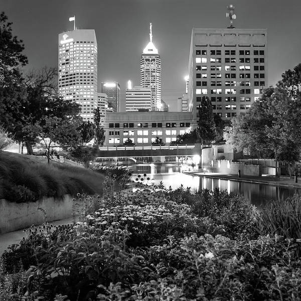 Photograph - Indianapolis Canal Walk Skyline Black And White 1x1  by Gregory Ballos