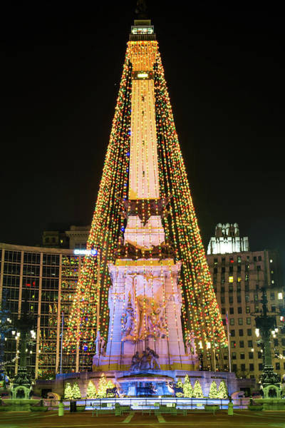 Photograph - Indianapolis Circle Of Lights - Downtown Indy by Gregory Ballos