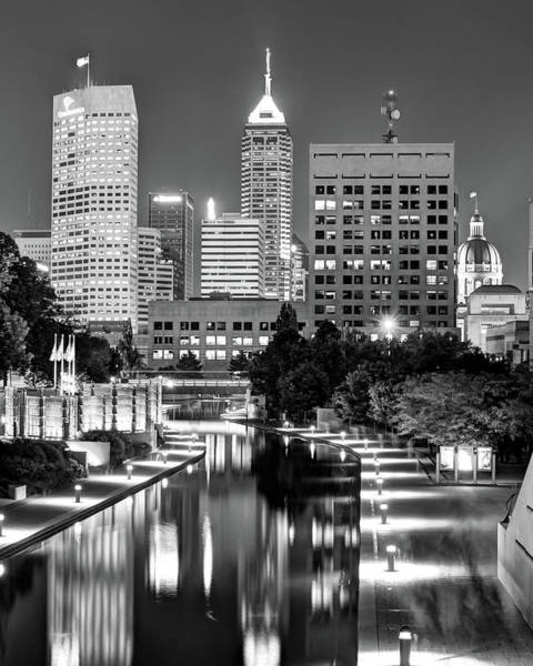 Photograph - Indianapolis City Skyline And Canal Walk - Black And White by Gregory Ballos