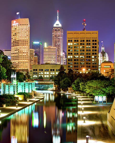 Photograph - Indianapolis City Skyline And Canal Walk by Gregory Ballos