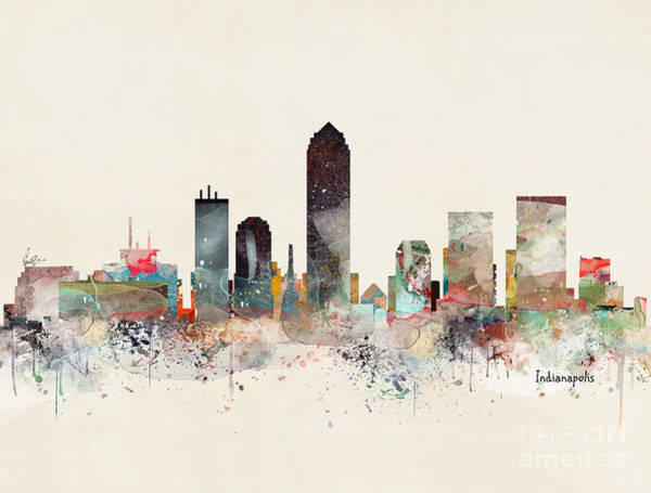 Indianapolis Wall Art - Painting - Indianapolis City Skyline by Bri Buckley