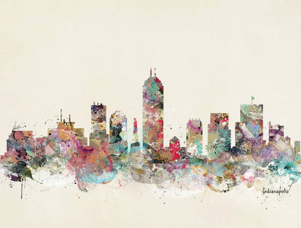 Wall Art - Painting - Indianapolis City Skyline by Bri Buckley