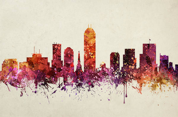 Splash Drawing - Indianapolis Cityscape 09 by Aged Pixel