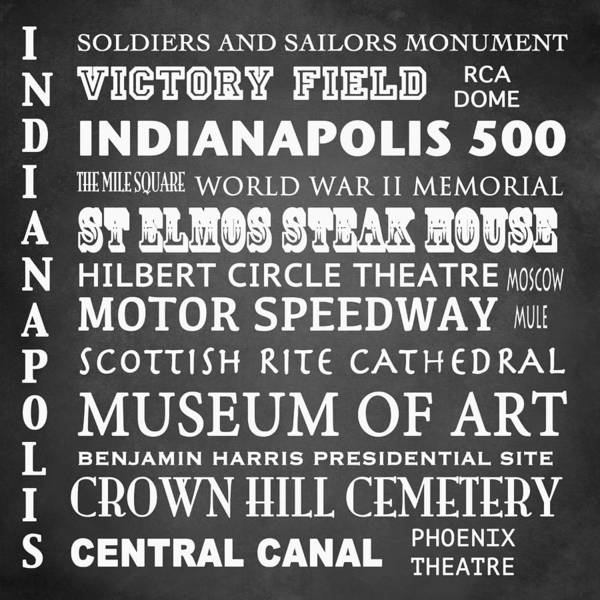 Square Mile Wall Art - Digital Art - Indianapolis Famous Landmarks by Patricia Lintner
