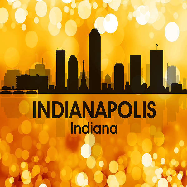 Wall Art - Mixed Media - Indianapolis In 3 Squared by Angelina Tamez