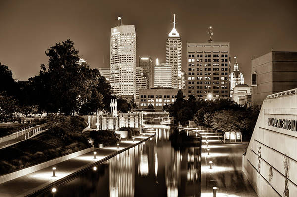 Photograph - Indianapolis Indiana Skyline At Night - Sepia Edition by Gregory Ballos