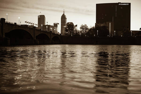 Photograph - Indianapolis On The Water - Sepia Skyline by Gregory Ballos