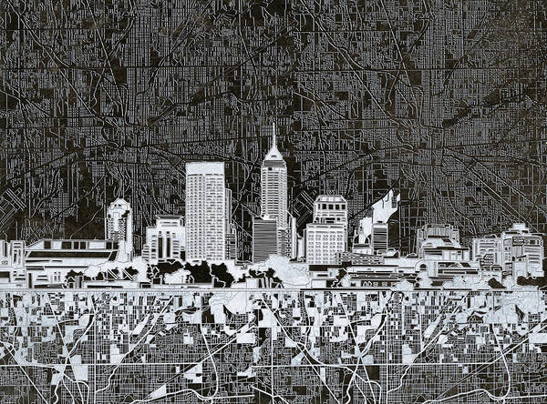 Monochromatic Painting - Indianapolis Skyline Abstract 10 by Bekim Art