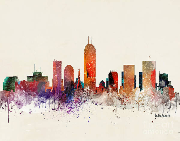 Indianapolis Wall Art - Painting - Indianapolis Skyline by Bri Buckley
