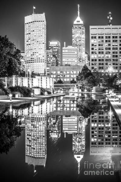 River Walk Photograph - Indianapolis Skyline Central Canal Black And White Photo by Paul Velgos