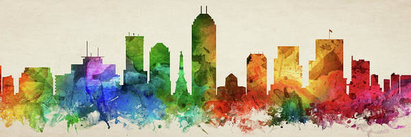 Wall Art - Digital Art - Indianapolis Skyline Panorama Usinin-pa03 by Aged Pixel