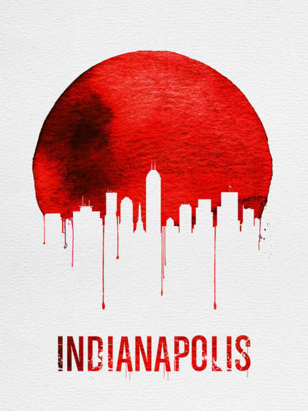 Wall Art - Painting - Indianapolis Skyline Red by Naxart Studio