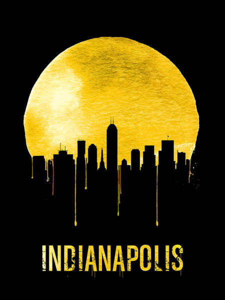Wall Art - Painting - Indianapolis Skyline Yellow by Naxart Studio