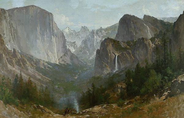 Hudson Valley Wall Art - Painting - Indians At Campfire Yosemite Valley by Thomas Hill