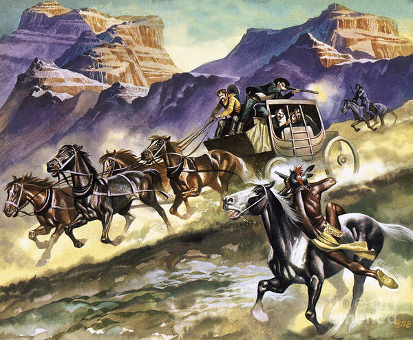 Migration Painting - Indians Attacking A Stage Coach by Ron Embleton