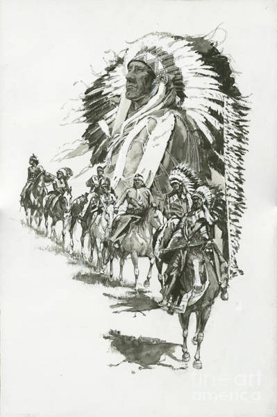 Wall Art - Painting - Indians-chief Horseback Riders by Don  Langeneckert