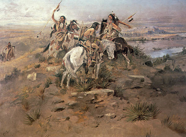 Territory Painting - Indians Discovering Lewis And Clark by Charles Marion Russell