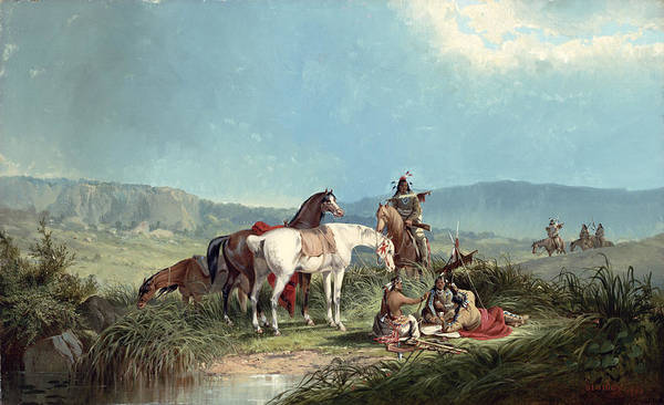Navaho Wall Art - Painting - Indians Playing Cards by John Mix Stanley