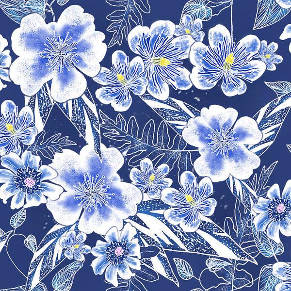 Indigo Batik Tile 1 - Camellia Art Print