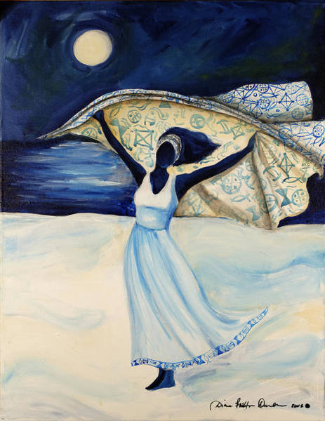 African American Woman Wall Art - Painting - Indigo Beach by Diane Britton Dunham