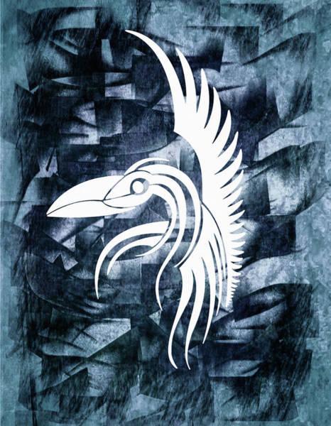 Watercolor Bird Mixed Media - Indigo Bird Flight Contemporary by Georgiana Romanovna