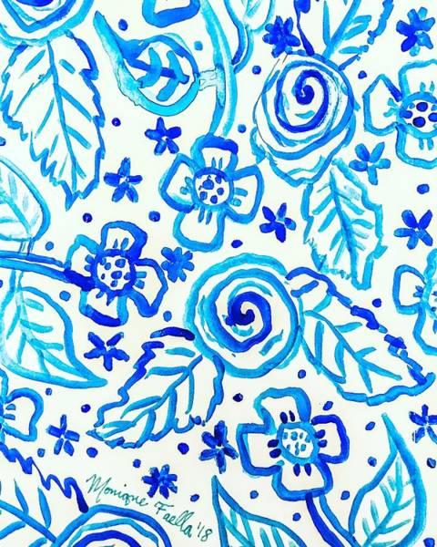 Indigo Blooms Art Print