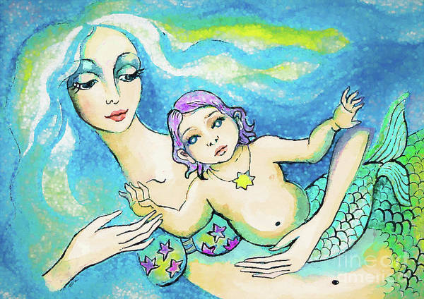 Painting - Indigo Child Mermaid by Eva Campbell