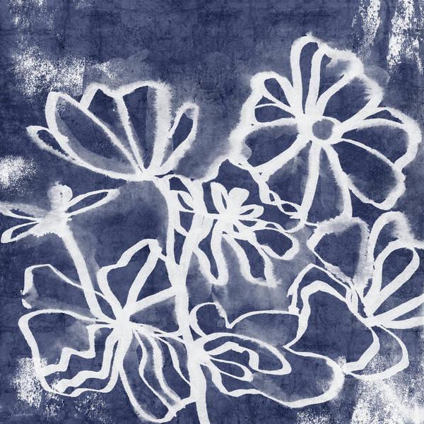 Painting - Indigo Floral 3- Art By Linda Woods by Linda Woods