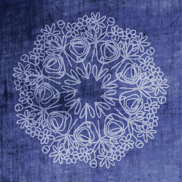 Mandala Wall Art - Mixed Media - Indigo Mandala 1- Art By Linda Woods by Linda Woods