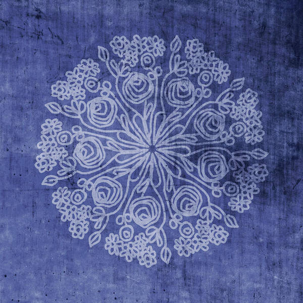 Mandala Wall Art - Mixed Media - Indigo Mandala 2- Art By Linda Woods by Linda Woods