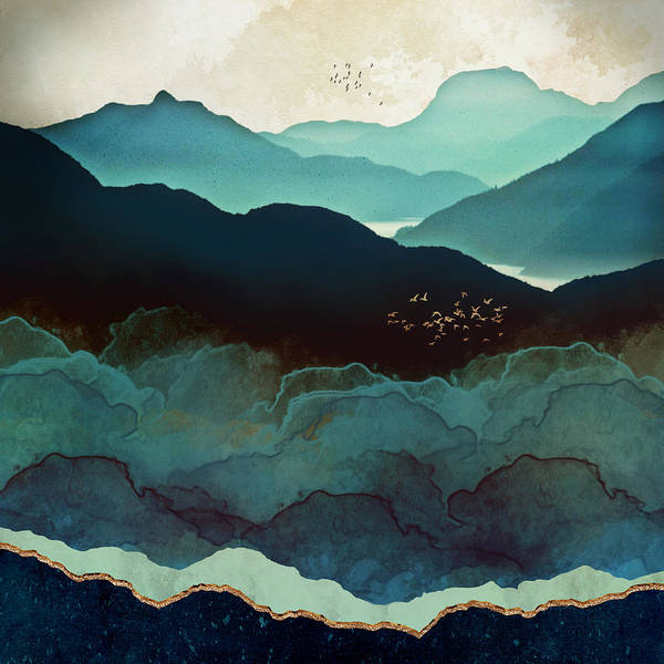 Wall Art - Digital Art - Indigo Mountains by Spacefrog Designs