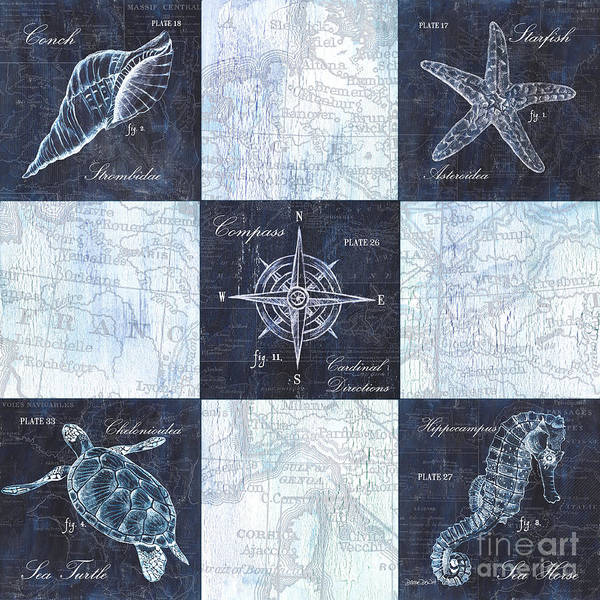 Wall Art - Painting - Indigo Nautical Collage by Debbie DeWitt