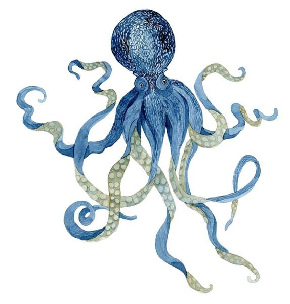 T Shirts Painting - Indigo Ocean Blue Octopus  by Audrey Jeanne Roberts