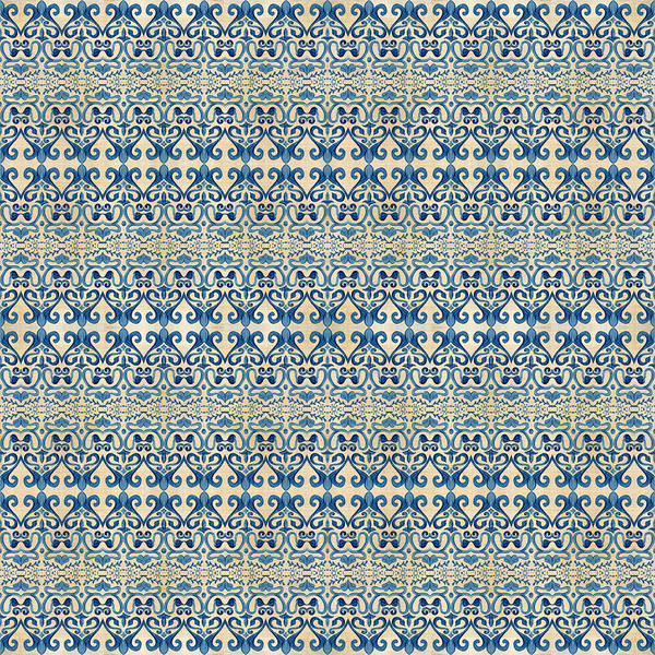 Girly Painting - Indigo Ocean - Caribbean Tile Inspired Watercolor Swirl Pattern by Audrey Jeanne Roberts