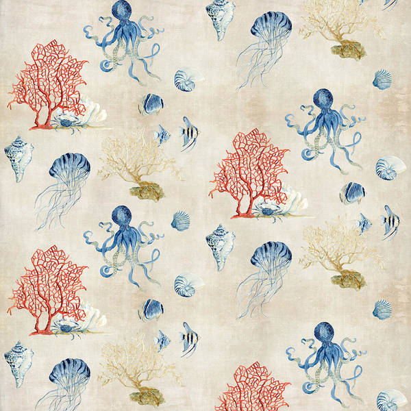 Wall Art - Painting - Indigo Ocean - Red Coral Octopus Half Drop Pattern by Audrey Jeanne Roberts