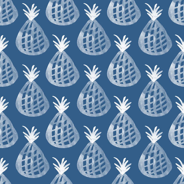 Blue And White Wall Art - Mixed Media - Indigo Pineapple Party by Linda Woods