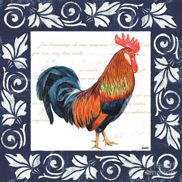 Blue Feather Wall Art - Painting - Indigo Rooster 1 by Debbie DeWitt