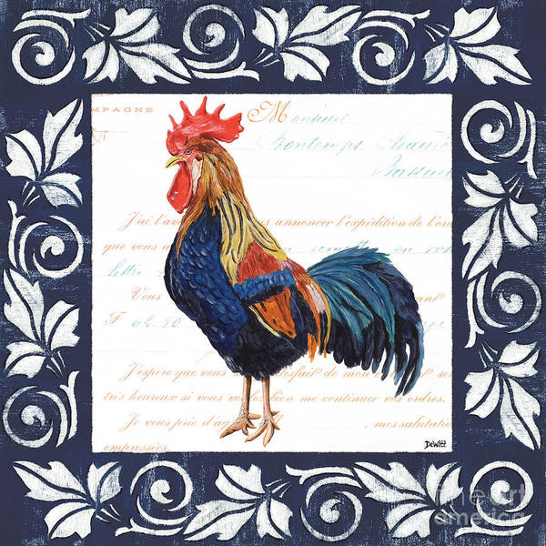 Blue Feather Wall Art - Painting - Indigo Rooster 2 by Debbie DeWitt