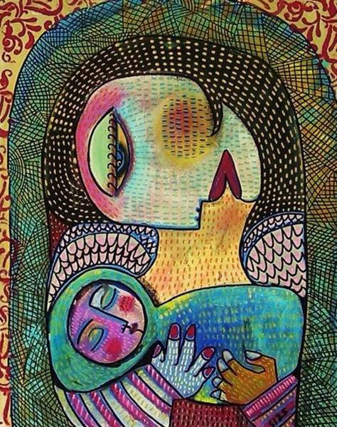 Painting - Indigo Tapestry Angel Mother And Child by Sandra Silberzweig