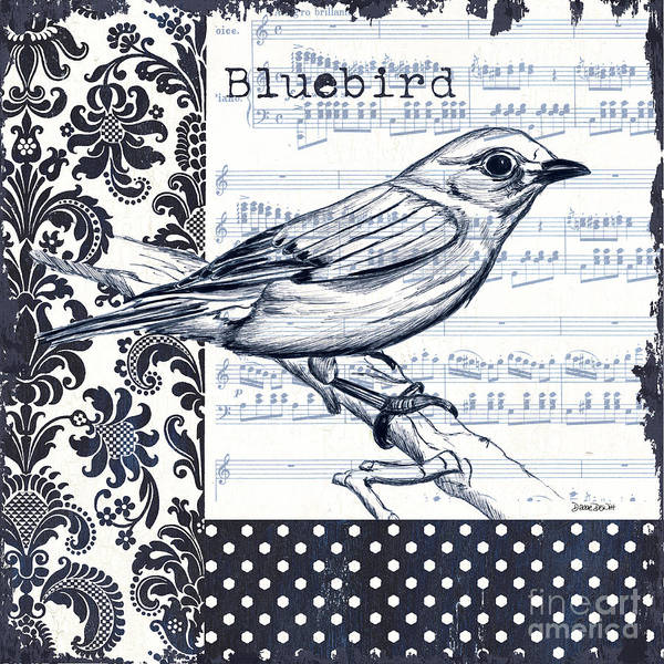 Wall Art - Painting - Indigo Vintage Songbird 1 by Debbie DeWitt